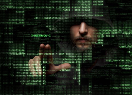 Protect from cyber attack - silhouette of a hacker uses a command on graphic user interface