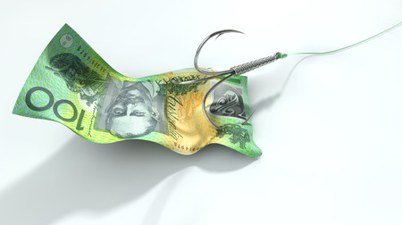 fishhook baited with hundred dollar note
