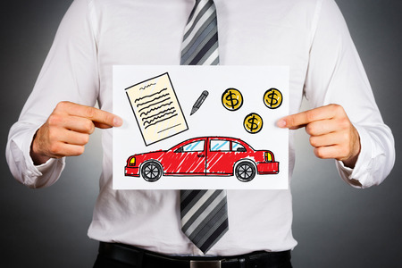 Should you buy or lease a business vehicle. businessman holding paper with drawing of a car together with money and contract illustrations.