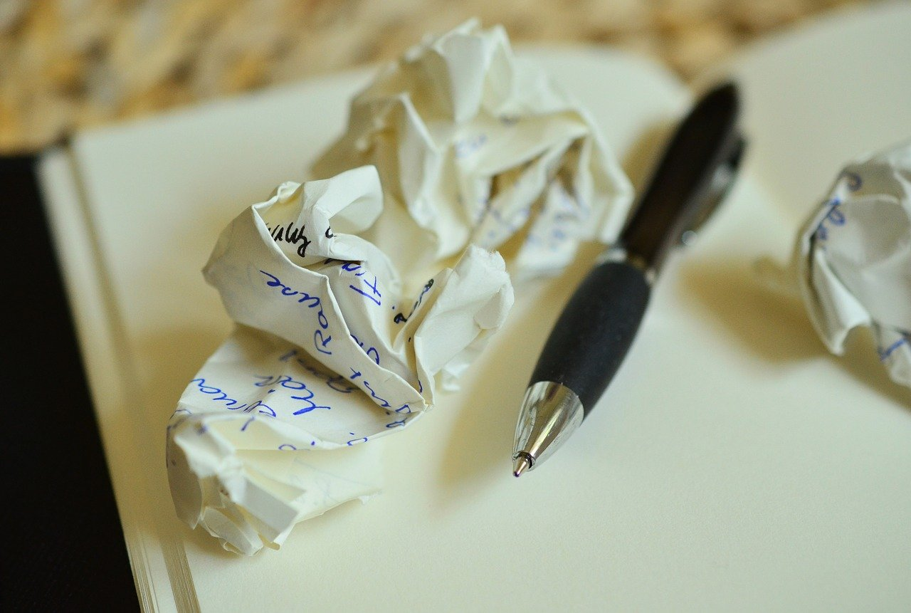 4 Ways to make the most of business down time - a crumpled, discarded note from a planning notebook
